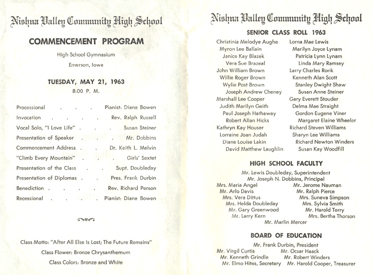 Nishna Valley Class of 1963 Home Page